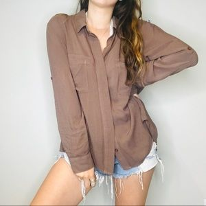 Anthro Cloth & Stone Brown casual button down